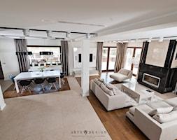 Salon z kuchnią - Duży szary biały salon, styl nowoczesny - zdjęcie od Arte Dizain