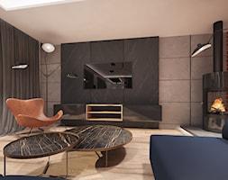 Dom w Gdańsku Ujeścisku - Średni szary czarny brązowy salon - zdjęcie od Arte Dizain
