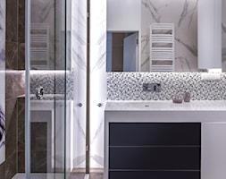 Apartament Nowe Orłowo Gdynia - Średnia biała beżowa czarna łazienka bez okna - zdjęcie od Arte Dizain