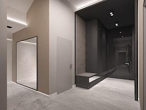 Penthouse w Gdańsku - Średni beżowy czarny hol / przedpokój - zdjęcie od Arte Dizain
