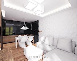 Średni biały czarny salon z kuchnią z jadalnią, styl nowoczesny - zdjęcie od Arte Dizain