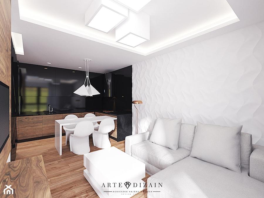 Aranżacje wnętrz - Salon: Średni biały czarny salon z kuchnią z jadalnią, styl nowoczesny - Arte Dizain. Przeglądaj, dodawaj i zapisuj najlepsze zdjęcia, pomysły i inspiracje designerskie. W bazie mamy już prawie milion fotografii!