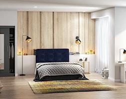 Sypialnia z granatowym łóżkiem Bongiorno SELSEY - zdjęcie od Selsey.pl - Homebook