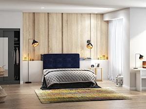 Sypialnia z granatowym łóżkiem kontynentalnym Bongiorno SELSEY