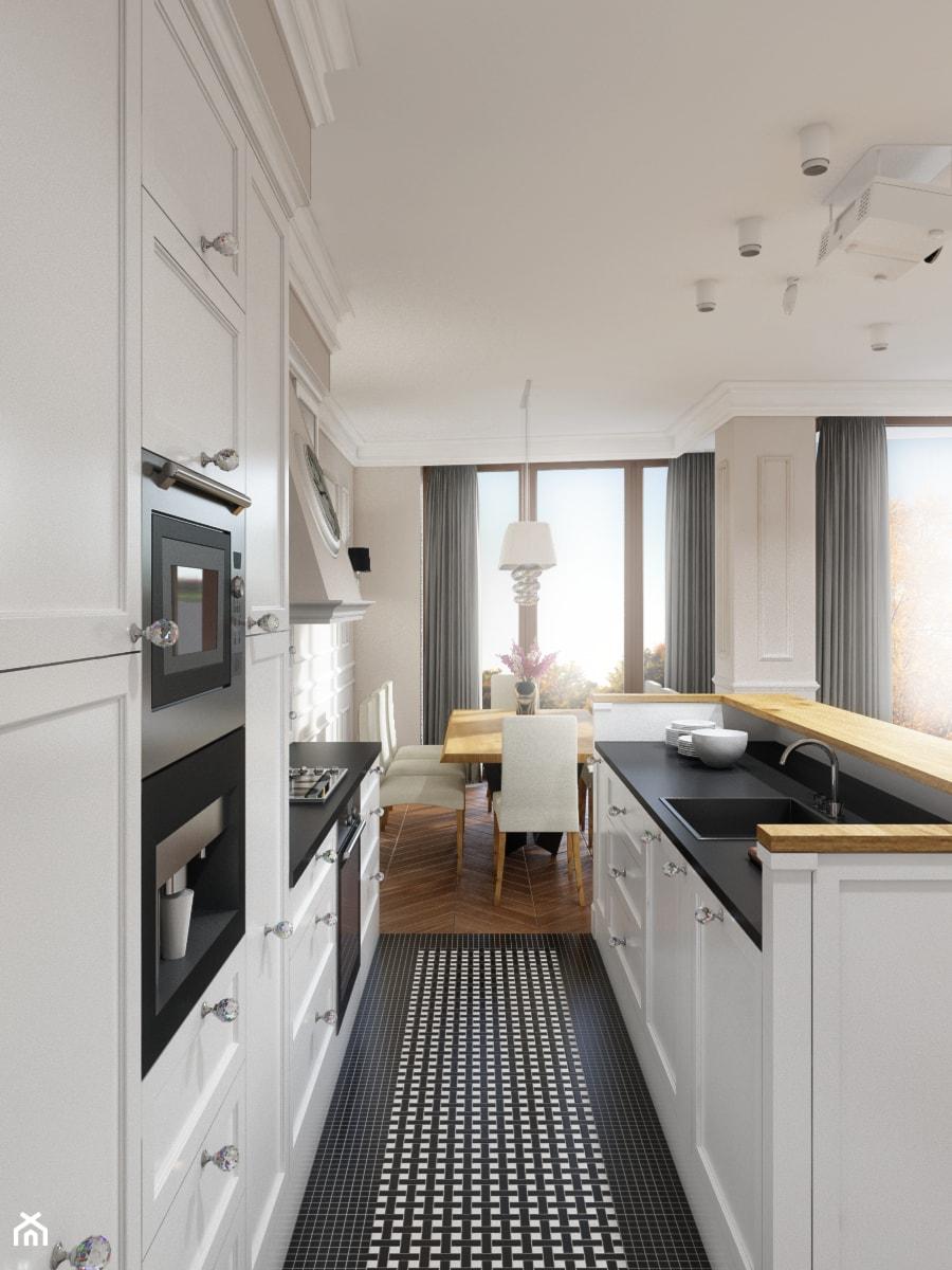 Eleganckie Powiśle - Średnia otwarta wąska biała kuchnia dwurzędowa z wyspą, styl klasyczny - zdjęcie od EG projekt