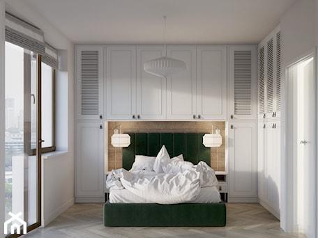 Aranżacje wnętrz - Sypialnia: Zielone Bielany - Średnia biała sypialnia małżeńska z balkonem / tarasem, styl skandynawski - EG projekt. Przeglądaj, dodawaj i zapisuj najlepsze zdjęcia, pomysły i inspiracje designerskie. W bazie mamy już prawie milion fotografii!