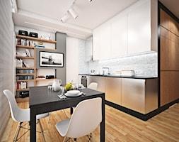 B1 - Mała otwarta szara jadalnia w kuchni, styl minimalistyczny - zdjęcie od EG projekt
