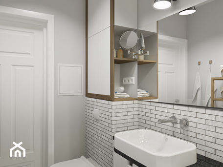 Aranżacje wnętrz - Łazienka: Rodzinne Pastele - Mała szara łazienka w bloku w domu jednorodzinnym bez okna, styl skandynawski - EG projekt. Przeglądaj, dodawaj i zapisuj najlepsze zdjęcia, pomysły i inspiracje designerskie. W bazie mamy już prawie milion fotografii!