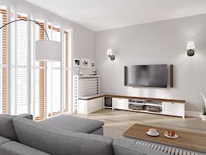 Rodzinne Pastele - Średni szary salon, styl skandynawski - zdjęcie od EG projekt