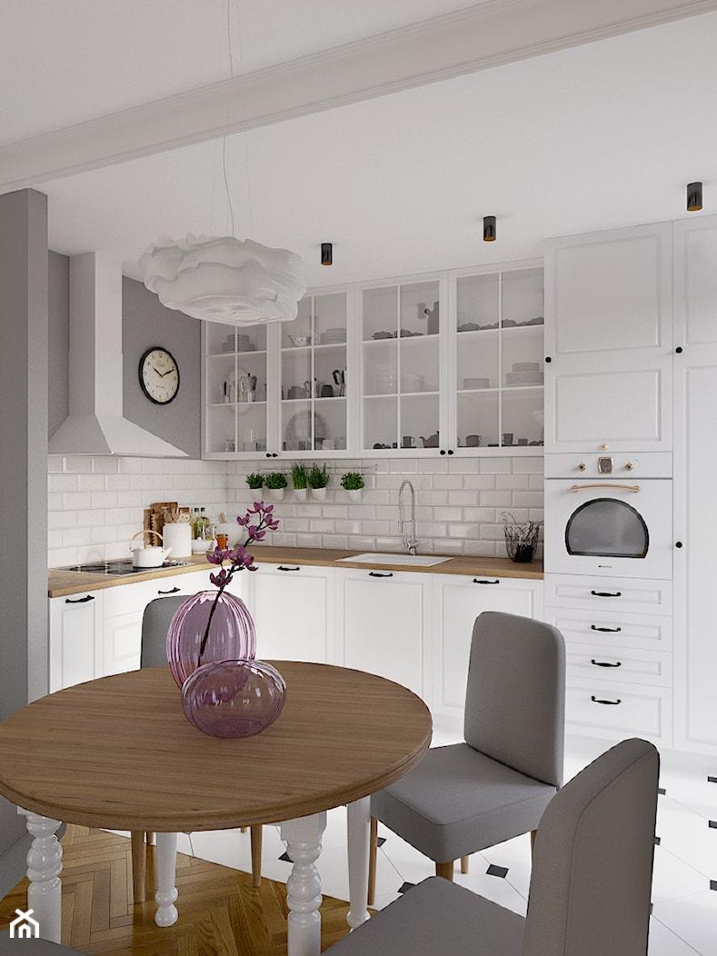 Kolorowy artyzm - Średnia otwarta biała szara kuchnia w kształcie litery l w aneksie, styl skandynawski - zdjęcie od EG projekt - Homebook