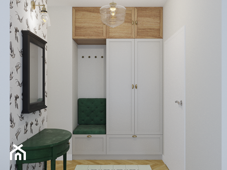 Aranżacje wnętrz - Hol / Przedpokój: Zielone Bielany - Mały biały hol / przedpokój, styl skandynawski - EG projekt. Przeglądaj, dodawaj i zapisuj najlepsze zdjęcia, pomysły i inspiracje designerskie. W bazie mamy już prawie milion fotografii!