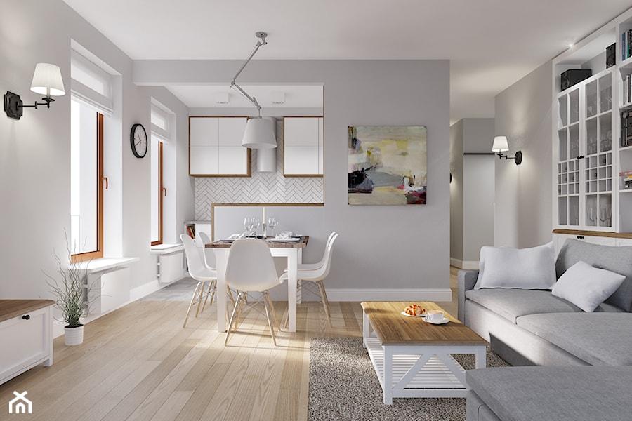 Rodzinne Pastele - Mała otwarta szara jadalnia w salonie, styl skandynawski - zdjęcie od EG projekt