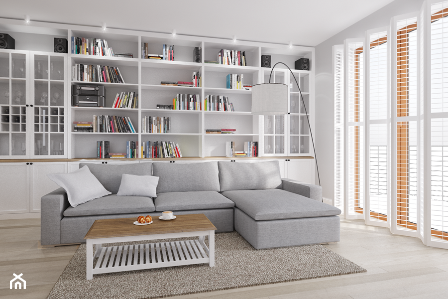 Rodzinne Pastele - Średni biały salon z bibiloteczką, styl skandynawski - zdjęcie od EG projekt