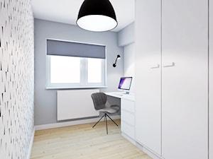 Turkusowy Bonifacy - Małe szare białe biuro pracownia, styl skandynawski - zdjęcie od EG projekt