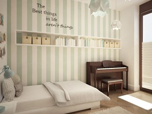 Eleganckie Powiśle - Średni beżowy pastelowy miętowy pokój dziecka dla chłopca dla dziewczynki dla nastolatka, styl skandynawski - zdjęcie od EG projekt