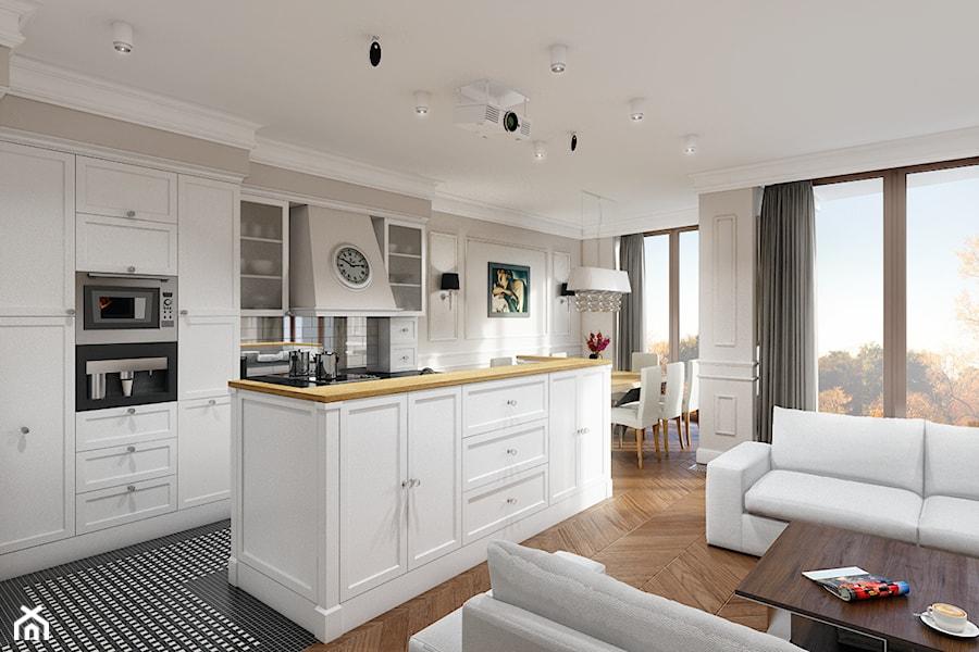 Eleganckie Powiśle  Duża otwarta kuchnia jednorzędowa z wyspą, styl glamour   -> Projekt Kuchni Brw