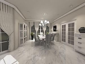 Dom Styl Glamour - Duża otwarta szara jadalnia w salonie, styl glamour - zdjęcie od Rajek Projektowanie Wnętrz