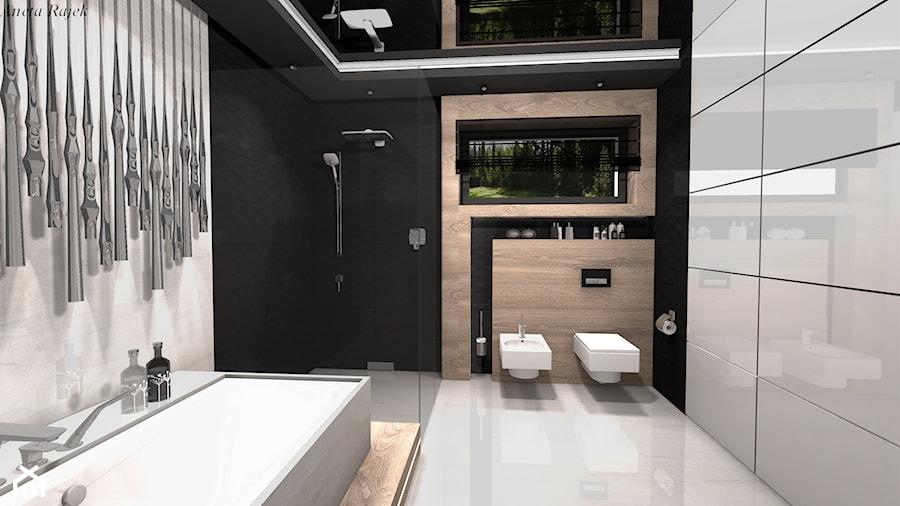 Pokój kąpielowy Styl Nowoczesny - Duża biała czarna łazienka w bloku w domu jednorodzinnym, styl nowoczesny - zdjęcie od Rajek Projektowanie Wnętrz