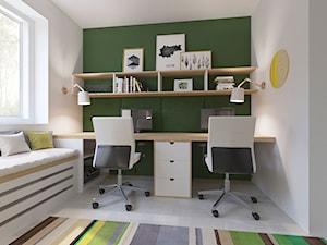 Salon i pracownia - Małe szare biuro domowe kącik do pracy w pokoju, styl nowoczesny - zdjęcie od Joanna Kłusak Architekt
