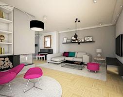 Dom na Woli Justowskiej - Duży szary biały salon z bibiloteczką, styl nowoczesny - zdjęcie od Joanna Kłusak Architekt