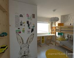 Mieszkanie na Ruczaju - Średni szary pokój dziecka dla chłopca dla dziewczynki dla rodzeństwa dla ucznia dla malucha dla nastolatka, styl skandynawski - zdjęcie od Joanna Kłusak Architekt