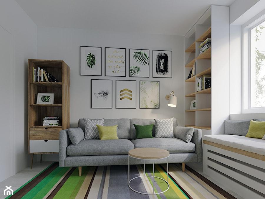 Salon i pracownia - Małe białe biuro domowe w pokoju, styl nowoczesny - zdjęcie od Joanna Kłusak Architekt