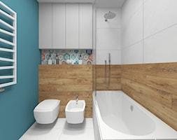Łazienka - Mała niebieska łazienka w bloku w domu jednorodzinnym bez okna, styl nowoczesny - zdjęcie od Joanna Kłusak Architekt