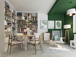 Salon i pracownia - Mały biały zielony salon z bibiloteczką z jadalnią, styl nowoczesny - zdjęcie od Joanna Kłusak Architekt