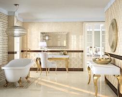 Duża beżowa łazienka w bloku w domu jednorodzinnym z oknem, styl glamour - zdjęcie od Ceramica Promat