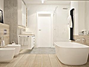 Łazienka skandynawska - metamorfoza - Średnia biała łazienka w bloku w domu jednorodzinnym bez okna - zdjęcie od Icona Studio