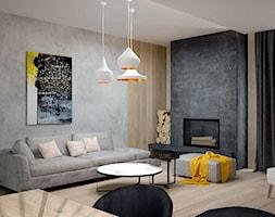 Dom koło Konstancina - Średni szary beżowy salon, styl nowoczesny - zdjęcie od Icona Studio