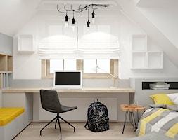 Dom Wólka Kozodawska - Mały biały szary pokój dziecka dla chłopca dla dziewczynki dla ucznia dla malucha dla nastolatka, styl industrialny - zdjęcie od Icona Studio