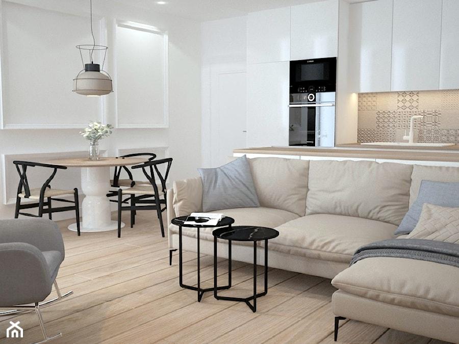 Metamorfoza mieszkania w Piasecznie 4 - Mały biały salon z kuchnią z jadalnią, styl nowoczesny - zdjęcie od Icona Studio