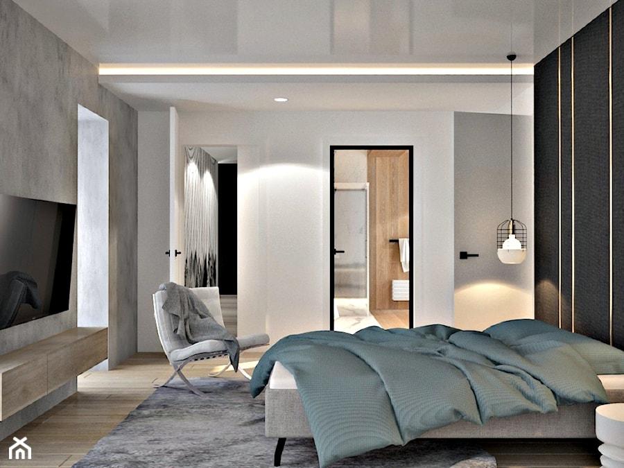 Dom w okolicach Piaseczna - Średnia biała szara czarna sypialnia małżeńska z łazienką, styl nowoczesny - zdjęcie od Icona Studio