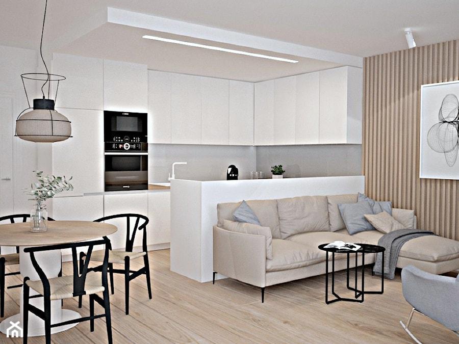 Metamorfoza mieszkania w Piasecznie 4 - Średnia otwarta szara kuchnia w kształcie litery g w aneksie z oknem, styl nowoczesny - zdjęcie od Icona Studio