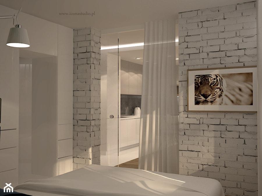 nowoczesne mieszkanie w Piasecznie - Mała biała sypialnia, styl nowoczesny - zdjęcie od Icona Studio
