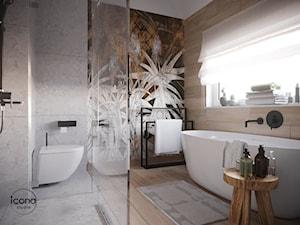Łazienka z prysznicem i wanną - Średnia szara łazienka w bloku w domu jednorodzinnym z oknem, styl nowoczesny - zdjęcie od Icona Studio
