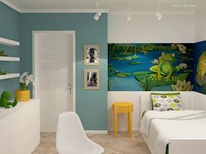 pokój dziecka - Mały niebieski zielony kolorowy pokój dziecka dla chłopca dla dziewczynki dla malucha, styl nowoczesny - zdjęcie od Icona Studio