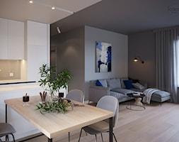 Mieszkanie w Piasecznie 6 - Średni szary salon z kuchnią z jadalnią, styl minimalistyczny - zdjęcie od Icona Studio - Homebook