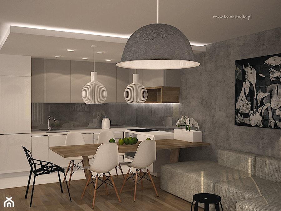 nowoczesne mieszkanie w Piasecznie - Średnia otwarta szara kuchnia w kształcie litery l w aneksie, styl nowoczesny - zdjęcie od Icona Studio