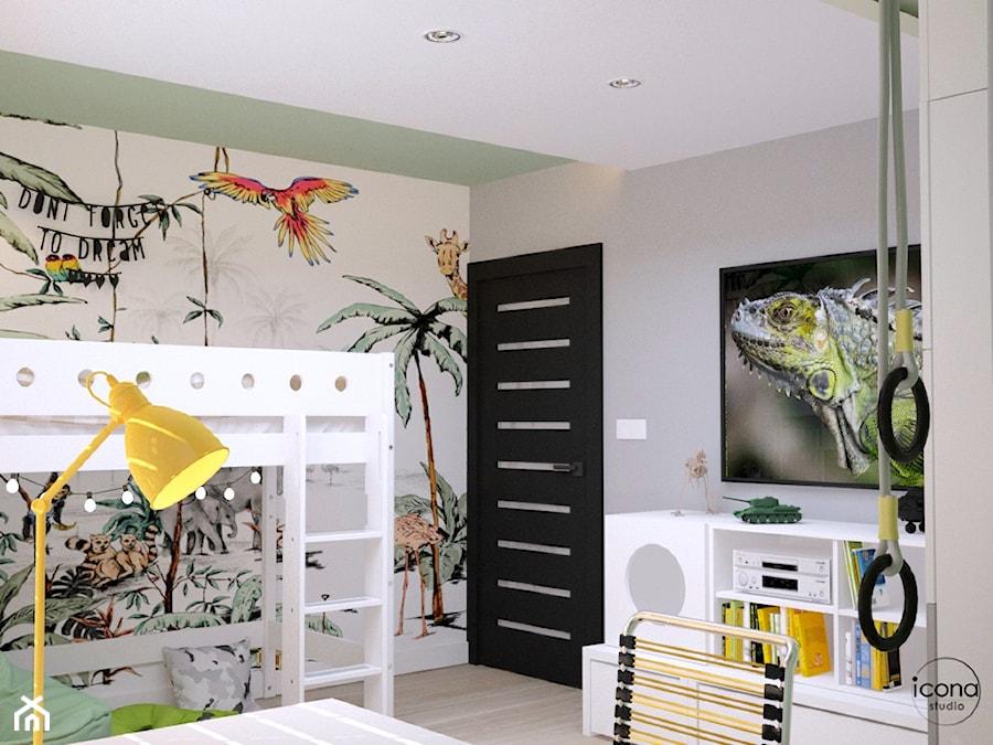 Pokój chłopca - Średni biały szary pokój dziecka dla chłopca dla dziewczynki dla ucznia dla nastolatka, styl nowoczesny - zdjęcie od Icona Studio
