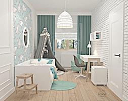 Segment w Józefosławiu 1 - Średni biały szary pokój dziecka dla chłopca dla ucznia dla malucha, styl nowoczesny - zdjęcie od Icona Studio - Homebook