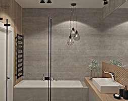 Segment w Józefosławiu 1 - Mała szara łazienka w bloku w domu jednorodzinnym bez okna, styl nowoczesny - zdjęcie od Icona Studio - Homebook