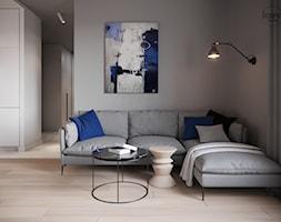 Mieszkanie w Piasecznie 6 - Średni szary biały salon z kuchnią, styl minimalistyczny - zdjęcie od Icona Studio - Homebook