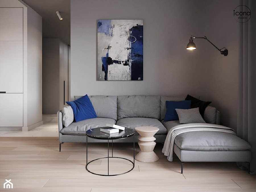 Mieszkanie w Piasecznie 6 - Średni szary biały salon z kuchnią, styl minimalistyczny - zdjęcie od Icona Studio