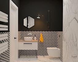Segment w Józefosławiu 1 - Mała biała czarna łazienka w bloku w domu jednorodzinnym bez okna, styl nowoczesny - zdjęcie od Icona Studio - Homebook