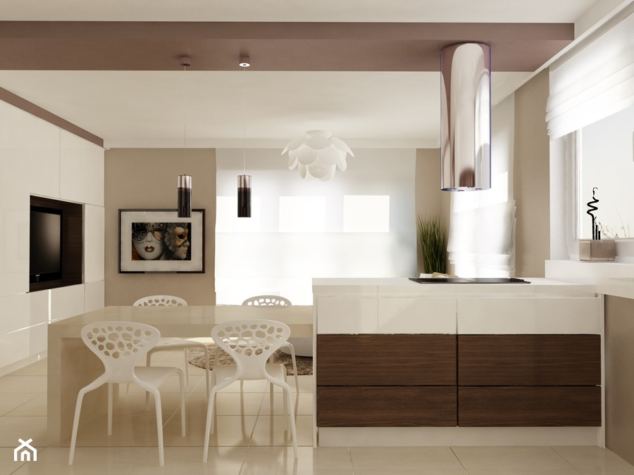 Mieszkanie w Piesecznie - Mała biała beżowa jadalnia w kuchni w salonie, styl nowoczesny - zdjęcie od Icona Studio
