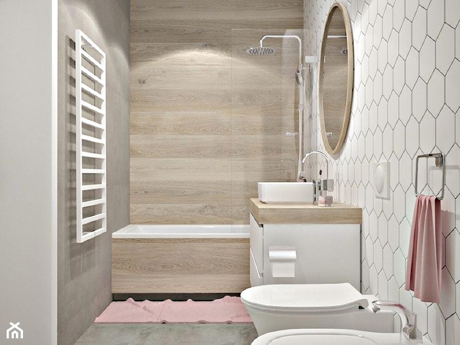 Dom w okolicach Piaseczna - Średnia biała łazienka w bloku w domu jednorodzinnym bez okna, styl nowoczesny - zdjęcie od Icona Studio
