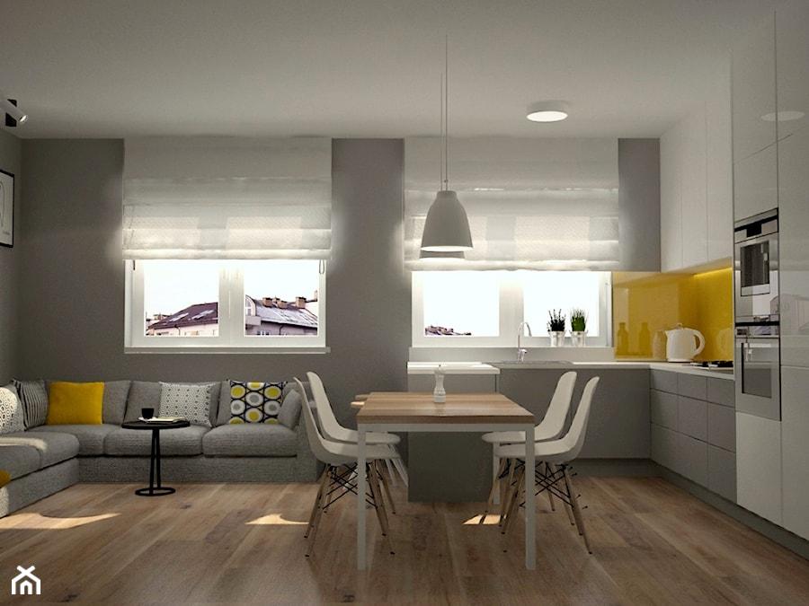 Mieszkanie na Ursynowie - Średnia otwarta szara żółta kuchnia w kształcie litery l w aneksie z wyspą, styl skandynawski - zdjęcie od Icona Studio