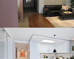 Metamorfoza mieszkania w Piasecznie - Średni biały różowy salon z kuchnią z jadalnią, styl eklektyczny - zdjęcie od Icona Studio